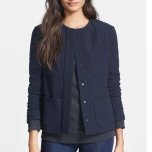 Vince snap front tweed jacket navy 2